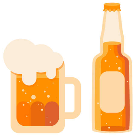 Mug and beer bottle on white isolated backdrop. Brewery for invitation or gift card, notebook, craft beer shop , scrapbook. Phone case or cloth print art. Flat style stock vector illustration