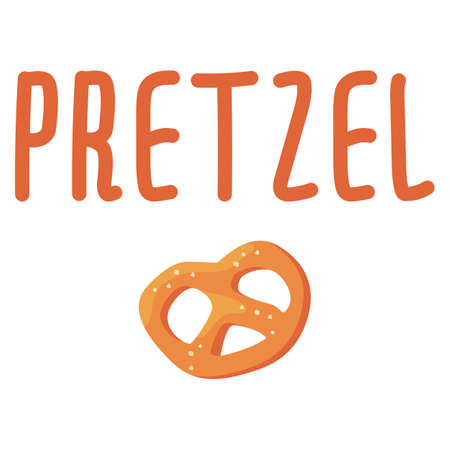 Bavarian salted pretzel on white isolated backdrop. Illustration