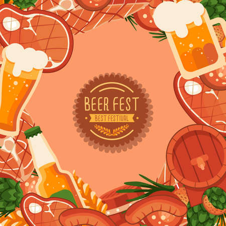 BBQ meat and beer with copy space on beige backdrop. Oktoberfest poster for invitation or gift card, notebook, bath tile, scrapbook. Phone case or cloth print art. Flat style stock vector illustration