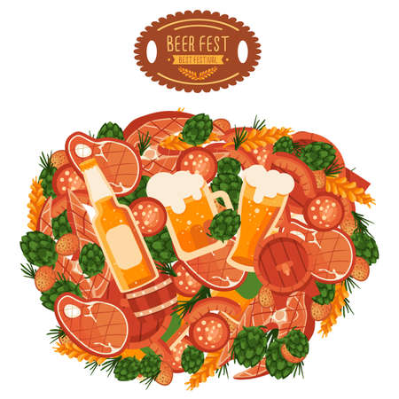 BBQ meat, beer and barrel on white isolated backdrop. Oktoberfest flyer for invitation or gift card, notebook, bath tile, scrapbook. Phone case or cloth print art. Flat style stock vector illustration