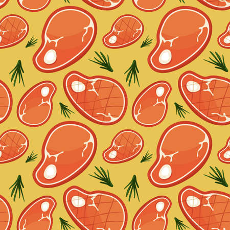 Raw and grill pork steaks on yellow backdrop. Barbecue seamless pattern for wallpaper, wrap paper, sleeper, bath tile, apparel or bed linen. Bag or hoody print. Flat style stock vector illustration Illustration