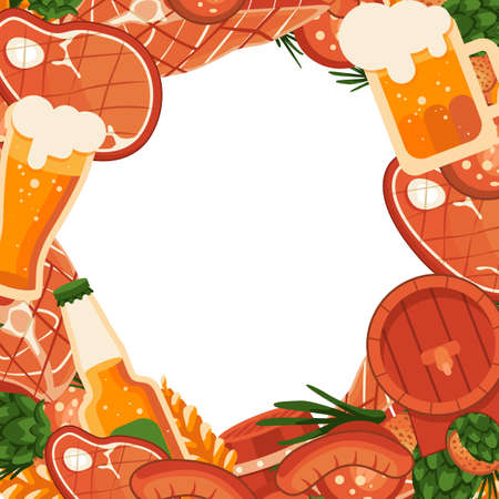 BBQ meat and beer with copy space on white backdrop. Oktoberfest banner for invitation or gift card, notebook, bath tile, scrapbook. Phone case or cloth print art. Flat style stock vector illustration