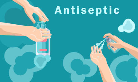 Antiseptic text on blue backdrop with copy space. Hands disinfection for social banner, medical poster, social network warning. Chemist shop logo or info card. Minimal style stock vector illustration