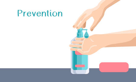 Prevention text on white backdrop with copy space. Hand disinfection for social banner, medical poster, social network warning. Chemist shop logo or info card. Minimal style stock vector illustration
