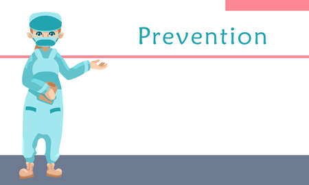 Prevention text on white backdrop with copy space. Medic staff for social banner, medical poster, social network warning. Chemist shop logo or info card. Minimal style stock vector illustration Vettoriali