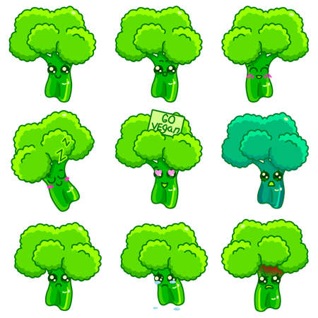 Broccoli twig sticker set on white isolated backdrop. Healthy food emoji for social media network, scrapbook or notebook sticker. Phone case or cloth print art. Cartoon style stock vector illustration Stock Illustratie
