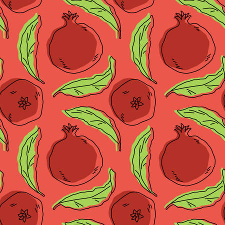 Pomegranates with leaves on pink backdrop. Healthy food seamless pattern for wrap paper, sleeper, bath tile, apparel or bed linen. Phone case or cloth print. Drawn style stock vector illustration Illustration