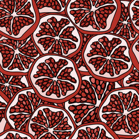 Pomegranate on transparent backdrop. Exotic seamless pattern for wallpaper, wrapping paper, sleeper, bath tile, apparel or bed linen. Phone case or cloth print. Drawn style stock vector illustration Illustration