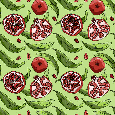 Pomegranate fruit on green backdrop. Healthy food seamless pattern for wallpaper, wrap paper, sleeper, bath tile, apparel or bed linen. Phone case or cloth print. Drawn style stock vector illustration