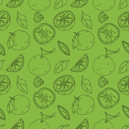Black line grapefruit on green backdrop. Outline fruits seamless pattern for wrap paper, sleeper, bath tile, apparel or bed linen. Phone case or cloth print. Minimal style stock vector illustration Illusztráció