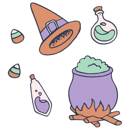 Cauldron and potion bottles on white isolated backdrop. Witch hat for invitation or gift card, notebook, bath tile, scrapbook. Phone case or cloth print art. Doodle style stock vector illustration