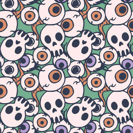 Skull and eyeballs on green backdrop. Halloween seamless pattern for wallpaper, wrap paper, sleeper, bath tile, apparel or bed linen Phone case or cloth print. Doodle style stock vector illustration