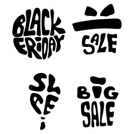 Black friday balloons icon set on white isolated backdrop. Big sale for invitation or gift card, notebook, online shop, promo flyer. Phone case or cloth print Doodle style stock vector illustration