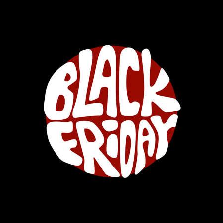 Promo black friday sale on black backdrop. Big sale flyer for invitation or gift card, notebook, bath tile, online shop, promo flyer. Phone case or cloth print Doodle style stock vector illustration