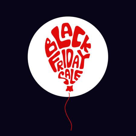 Black friday balloon on black backdrop. Big sale flyer for invitation or gift card, notebook, bath tile, online shop, promo flyer. Phone case or cloth print Doodle style stock vector illustration