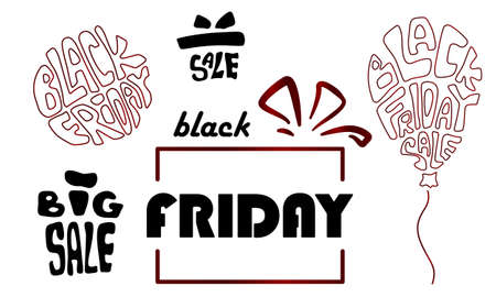 Black friday icon set on white isolated backdrop. Big sale for invitation or gift card, notebook, bath tile, online shop, promo flyer. Phone case or cloth print Doodle style stock vector illustration