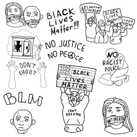 Antiracism protesters on white isolated backdrop. Antiracist protest for invitation or gift card, social banner or media blog, flyer. Phone case or cloth print. Doodle style stock vector illustration 矢量图像