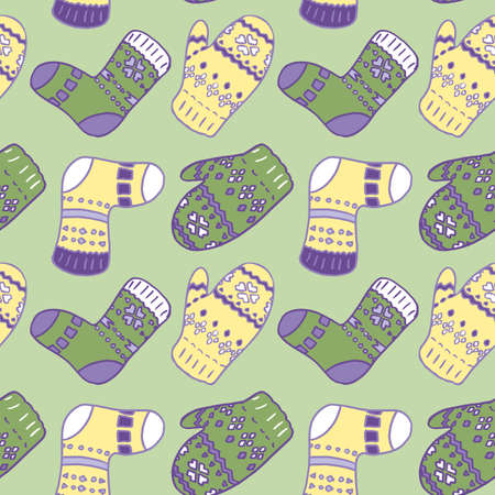 Mitten and socks on green backdrop. Christmas seamless pattern for wallpaper, wrap paper, sleeper, bath tile, apparel or bed linen. Phone case or cloth print. Doodle style stock vector illustration