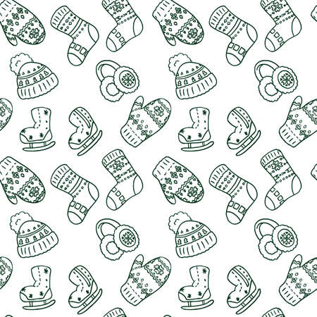 Warm mitten and socks on white backdrop. Christmas seamless pattern for wallpaper, wrap paper, sleeper, bath tile, apparel or bed linen Phone case or cloth print Doodle style stock vector illustration Vectores