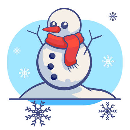 Snowman, snowflakes on white isolated backdrop. Christmas holiday postcard for invitation or gift card, notebook, bath tile, scrapbook. Phone case or cloth print. Flat style stock vector illustration Vectores