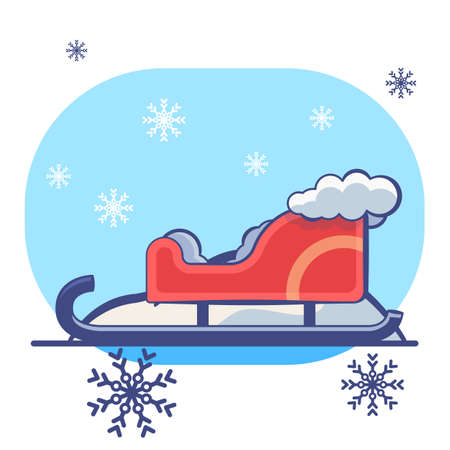 Red Santa sledge on white isolated backdrop. Christmas holiday postcard for invitation or gift card, notebook, bath tile, scrapbook. Phone case or cloth print. Flat style stock vector illustration