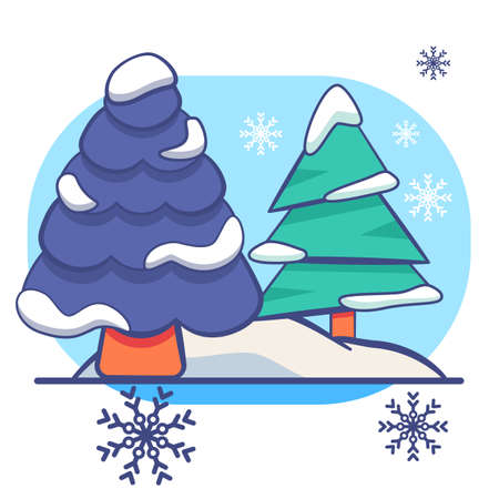Christmass trees on white isolated backdrop. Christmas holiday postcard for invitation or gift card, notebook, bath tile, scrapbook. Phone case or cloth print. Flat style stock vector illustration Vectores