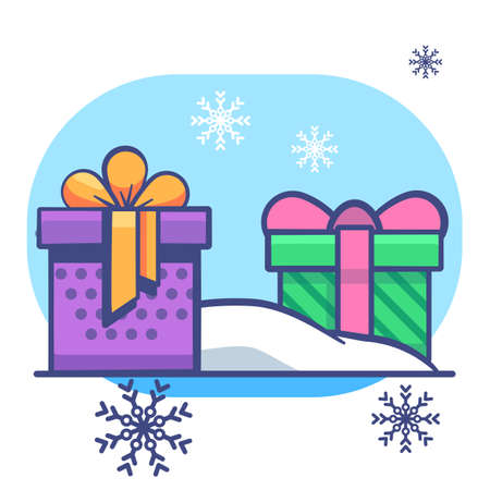 Gift box set on snowdrift on white isolated backdrop. Christmas postcard for invitation or gift card, notebook, bath tile, scrapbook. Phone case or cloth print. Flat style stock vector illustration