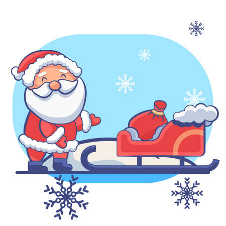 Santa Claus sledge on white isolated backdrop. Christmas holiday postcard for invitation or gift card, notebook, bath tile, scrapbook. Phone case or cloth print. Flat style stock vector illustration