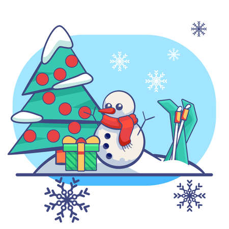 Fir tree and snowman on white isolated backdrop. Christmas holiday postcard for invitation or gift card, notebook, bath tile, scrapbook. Phone case or cloth print. Flat style stock vector illustration Vectores