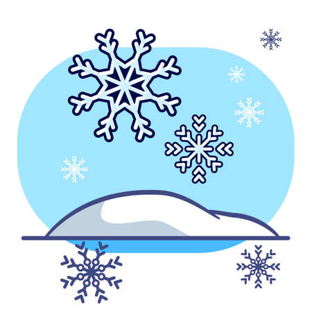 Snowflake and snowdrift on white isolated backdrop. Christmas postcard for invitation or gift card, notebook, bath tile, scrapbook. Flat style stock vector illustration