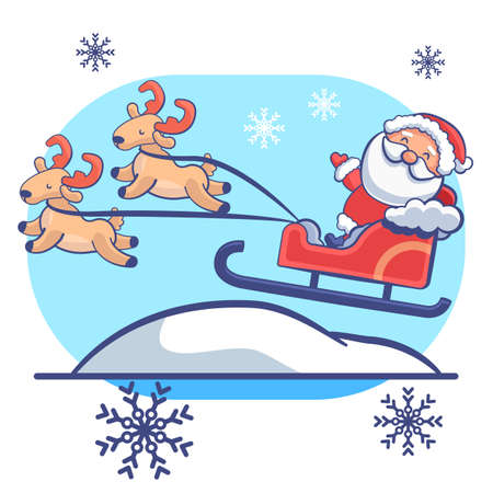 Santa Claus with deers on white isolated backdrop. Christmas postcard for invitation or gift card, notebook, bath tile, scrapbook. Phone case or cloth print. Flat style stock vector illustration Vectores