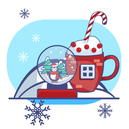 Penguin in glass ball on white isolated backdrop. Christmas postcard for invitation or gift card, notebook, bath tile, scrapbook. Phone case or cloth print.