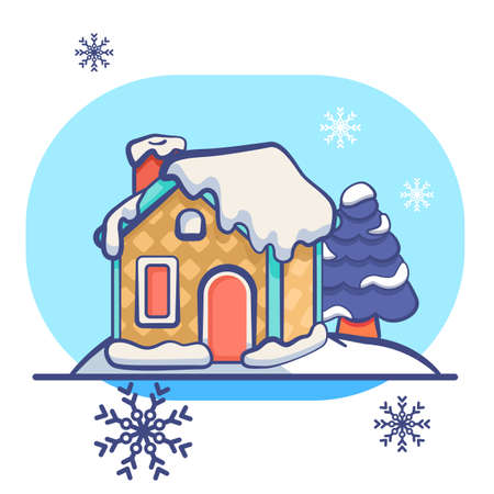 Gingerbread house on white isolated backdrop. Christmas holiday postcard for invitation or gift card, notebook, bath tile, scrapbook. Phone case or cloth print. Flat style stock vector illustration