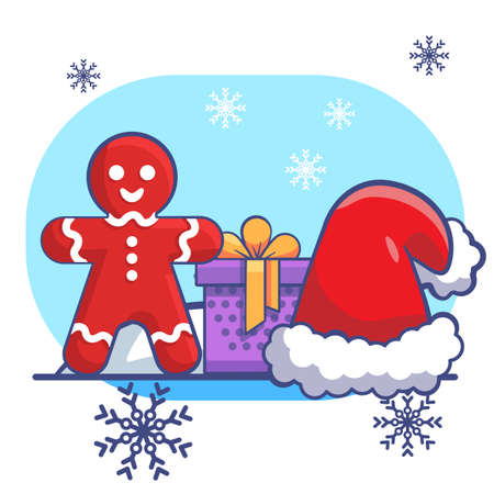 Gingerbread man and gift on white isolated backdrop. Christmas postcard for invitation or gift card, notebook, bath tile, scrapbook. Phone case or cloth print. Flat style stock vector illustration