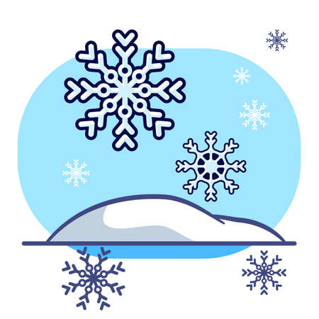 Snowflake with snowdrift on white isolated backdrop. Christmas postcard for invitation or gift card, notebook, bath tile, scrapbook. Phone case or cloth print. Flat style stock vector illustration Vectores