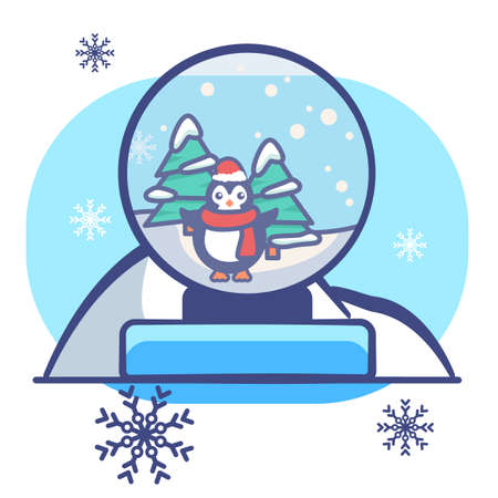Penguin in glass ball on white isolated backdrop. Christmas postcard for invitation or gift card, notebook, bath tile, scrapbook. Phone case or cloth print. Flat style stock vector illustration
