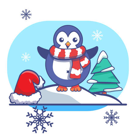 Penguin and red Santa hat on white isolated backdrop. Christmas postcard for invitation or gift card, notebook, bath tile, scrapbook. Phone case or cloth print. Flat style stock vector illustration