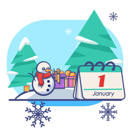 Snowman with gifts on white isolated backdrop. Christmas holiday postcard for invitation or gift card, notebook, bath tile, scrapbook. Phone case or cloth print. Flat style stock vector illustration Vectores