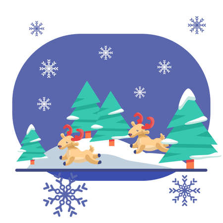 Deers in the woods on white isolated backdrop. Christmas holiday postcard for invitation or gift card, notebook, bath tile, scrapbook. Phone case or cloth print. Flat style stock vector illustration Vectores