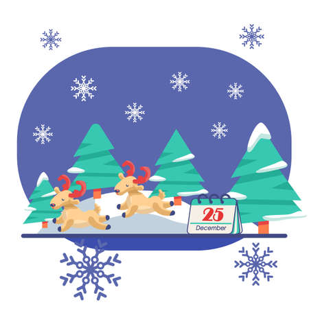 Deers with fir trees on white isolated backdrop. Christmas holiday postcard for invitation or gift card, notebook, bath tile, scrapbook. Phone case or cloth print. Flat style stock vector illustration