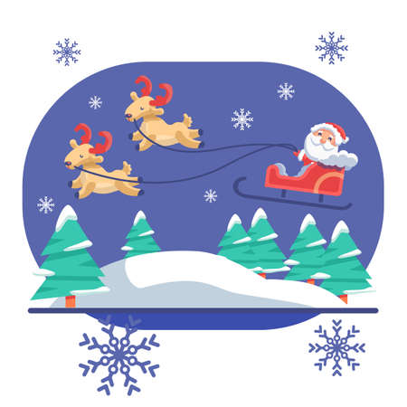 Santa Claus flying with deers on blue backdrop. Christmas holiday postcard for invitation or gift card, notebook, bath tile, scrapbook. Phone case or cloth print. Flat style stock vector illustration Vectores