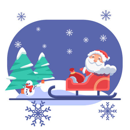 Santa Claus in sledge, snowman on blue backdrop. Christmas holiday postcard for invitation or gift card, notebook, bath tile, scrapbook. Phone case or cloth print. Flat style stock vector illustration