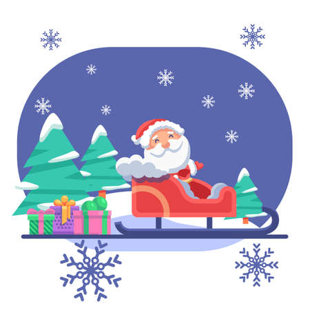 Santa Claus in skid and gifts on blue backdrop. Christmas holiday postcard for invitation or gift card, notebook, bath tile, scrapbook. Phone case or cloth print. Flat style stock vector illustration