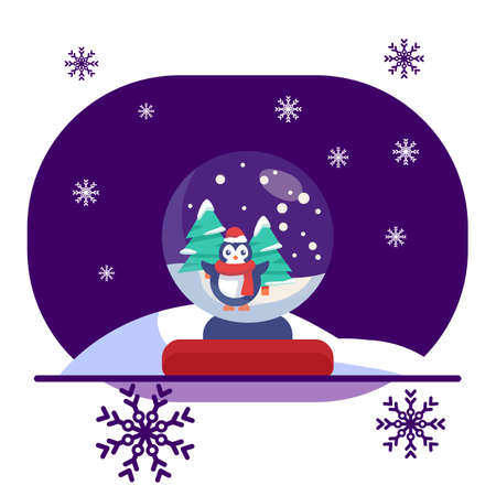 Penguin in snowy glass ball on violet backdrop. Christmas holiday postcard for invitation or gift card, notebook, bath tile, scrapbook. Phone case or cloth print. Flat style stock vector illustration