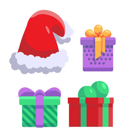Santa hat and gifts on white isolated backdrop. Christmas holiday symbols for invitation or gift card, notebook, bath tile, scrapbook. Phone case or cloth print. Flat style stock vector illustration