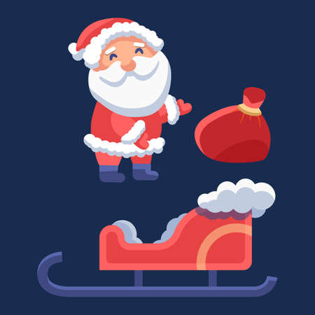 Santa Claus with sledge on navy blue backdrop. Christmas holiday postcard for invitation or gift card, notebook, bath tile, scrapbook. Phone case or cloth print. Flat style stock vector illustration