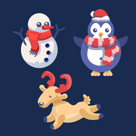 Snowman, deer and penguin on navy blue backdrop. Christmas holiday postcard for invitation or gift card, notebook, bath tile, scrapbook. Phone case or cloth print. Flat style stock vector illustration