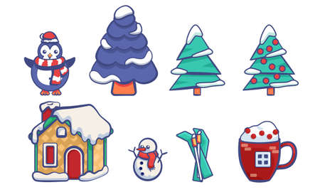 Penguin, snowman, spruce on white isolated backdrop. Christmas sticker set for invitation or gift card, notebook, bath tile, scrapbook. Phone case or cloth print. Flat style stock vector illustration