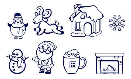 Fireplace, deer and Santa on white isolated backdrop. Christmas sticker set for invitation or gift card, notebook, bath tile, scrapbook. Phone case or cloth print. Flat style stock vector illustration