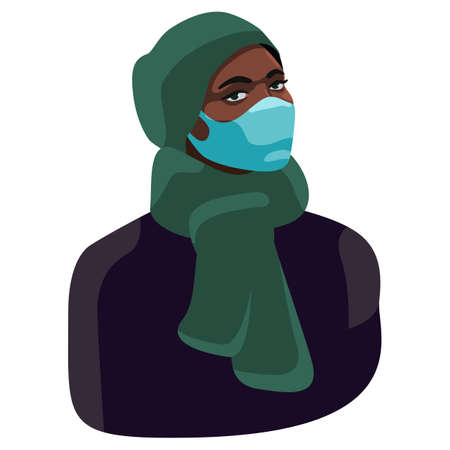 Young woman on white isolated backdrop. African woman in mask for social banner or propaganda, hygiene promotion, medical poster. Chemist shop logo or info card. Flat style stock vector illustration Vectores